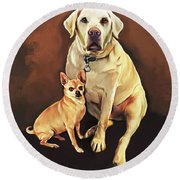 Best Friends By Spano Round Beach Towel by Michael Spano