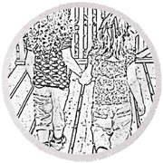 Best Friends Forever Round Beach Towel by Barbara Griffin