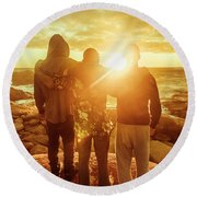 Best Friends Greeting The Sun Round Beach Towel
