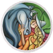 Pony Girl Round Beach Towel