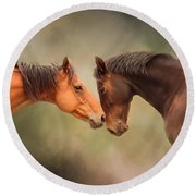 Best Friends - Two Horses Round Beach Towel