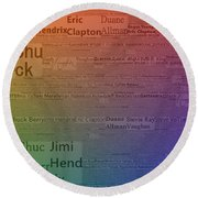 Best Guitarists Typography Round Beach Towel by Dan Sproul