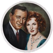 Round Beach Towel featuring the painting Best Guy I Ever Met by Kim Lockman