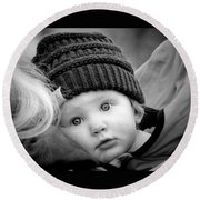 Round Beach Towel featuring the photograph Best Seat In The House by Barbara Dudley