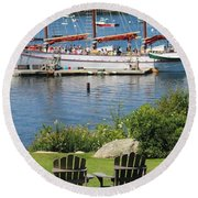 Round Beach Towel featuring the photograph Best Seats In Bar Harbor Maine by Living Color Photography Lorraine Lynch