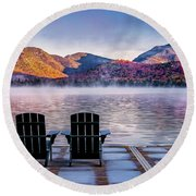 Best Seats In The Adirondacks Round Beach Towel by Neil Shapiro