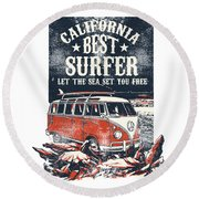 Round Beach Towel featuring the digital art Best Surfer by Christopher Meade