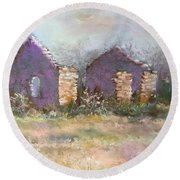 Round Beach Towel featuring the pastel Bethel School At Sunset by Rebecca Matthews