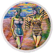 Round Beach Towel featuring the painting Bathers by Viktor Lazarev