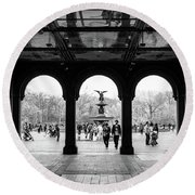 Bethesda Fountain #2 Round Beach Towel