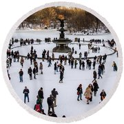Bethesda Fountain In The Snow #2 Round Beach Towel