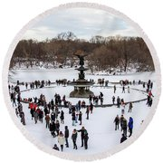 Bethesda Fountain In The Snow Round Beach Towel