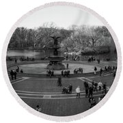 Bethesda Fountain Round Beach Towel