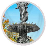 Bethesda Terrace Fountain-angel Of The Waters Round Beach Towel