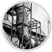 Bethlehem Steel - Black And White Industrial Round Beach Towel by Bill Cannon