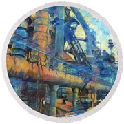 Bethlehem Steel Mill Watercolor Round Beach Towel by Bill Cannon