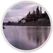 Bethlehem Steel Sunset Round Beach Towel