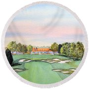 Round Beach Towel featuring the painting Bethpage State Park Golf Course 18th Hole by Bill Holkham