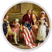 Betsy Ross And General George Washington Round Beach Towel