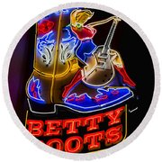 Betty Boots Round Beach Towel by Stephen Stookey
