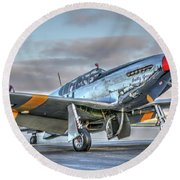Betty Jane P51d Mustang At Livermore Round Beach Towel
