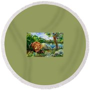 Between A Rock And Hardplace Round Beach Towel