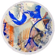 Round Beach Towel featuring the mixed media Between Branches by Mary Schiros