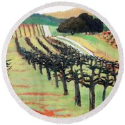 Round Beach Towel featuring the painting Between Crops by Gary Coleman