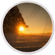Round Beach Towel featuring the photograph Between Day And Night by Rose-Maries Pictures