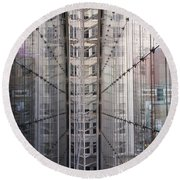 Round Beach Towel featuring the photograph Between Glass Walls by Rona Black