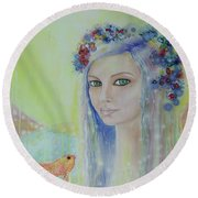 Between Heaven And Earth  Round Beach Towel