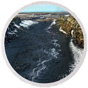 Between Iceland And North America Round Beach Towel