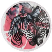 Between Stripes Round Beach Towel