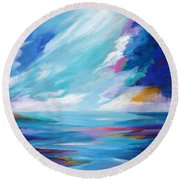 Between The Clouds Round Beach Towel