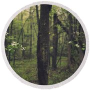 Between The Dogwoods Round Beach Towel