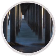 Between The Pillars  Round Beach Towel