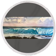 Between The Turtle And The Shark Round Beach Towel