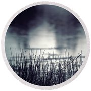 Round Beach Towel featuring the photograph Between The Waters by Trish Mistric