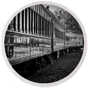 Round Beach Towel featuring the photograph Between Trains by Mitch Shindelbower