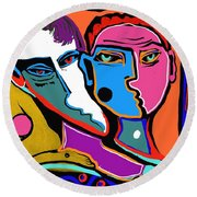Between Two Brothers Round Beach Towel