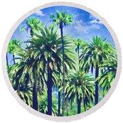 Beverly Hills Palms Round Beach Towel