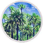 Beverly Hills Palms Round Beach Towel