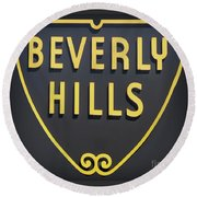 Beverly Hills Sign Round Beach Towel