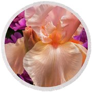 Beverly Sills Iris Round Beach Towel