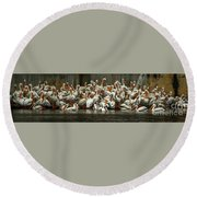 Bevy Of White Pelicans Round Beach Towel