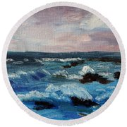 Round Beach Towel featuring the painting Beware The Rocks by Michael Helfen