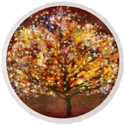 Round Beach Towel featuring the digital art Starry Tree by Valerie Anne Kelly