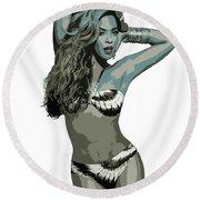 Beyonce Cutout Art Round Beach Towel