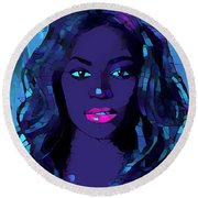 Beyonce Graphic Abstract Round Beach Towel by Dan Sproul