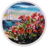 Beyond Sea Roses Round Beach Towel